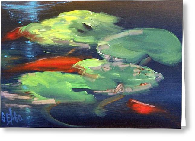 Koi At Play Greeting Card by Sally Seago