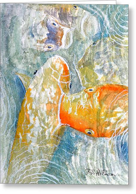 Greeting Card featuring the painting Koi Carp Feeding Frenzy by Bill Holkham