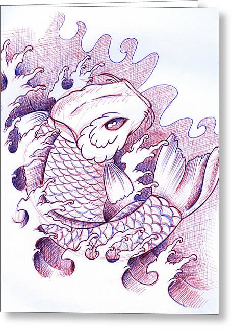 Koi Carp Tattoo Art Greeting Card by Samuel Whitton