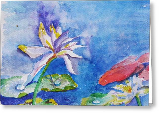 Greeting Card featuring the painting Koi Dance Among The Water Lilies by Trilby Cole
