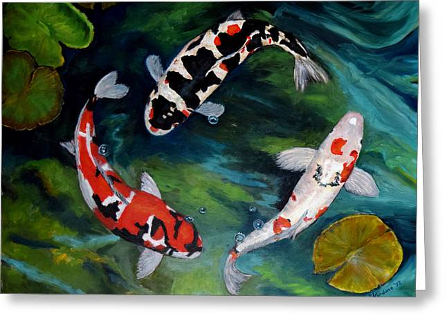 Greeting Card featuring the painting Koi Dance by Sandra Nardone