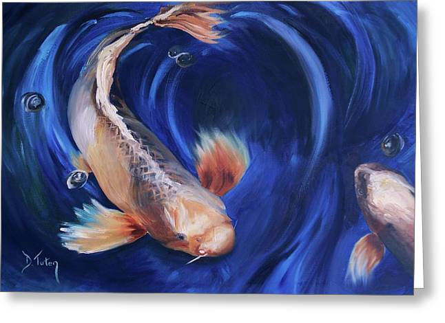 Greeting Card featuring the painting Koi by Donna Tuten