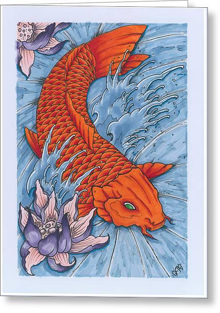 Koi Fish And Lotus Flower Greeting Card by Matt Ghost Kid Telford