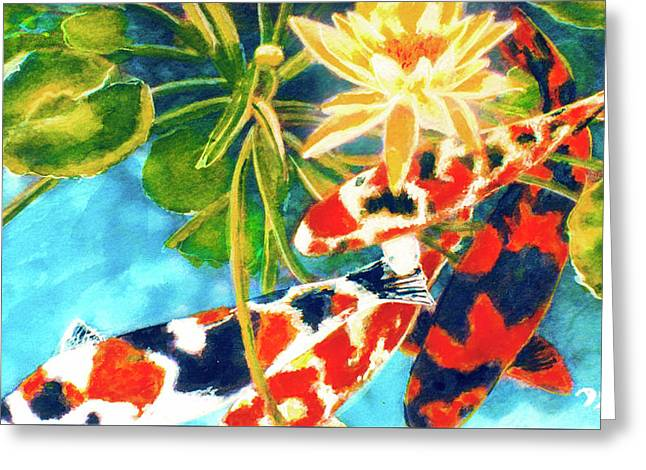 Koi Fish #104 Greeting Card by Donald k Hall