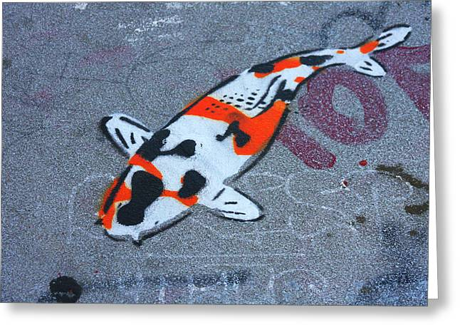 Koi Fish Grafitti Greeting Card by Art Block Collections