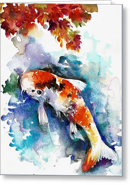 Koi Fish In The Lake Greeting Card by Tiberiu Soos