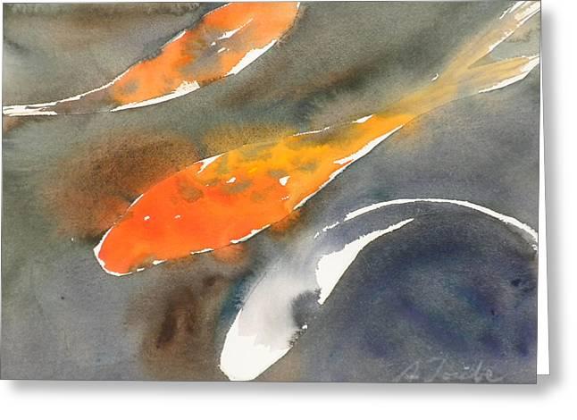 Koi Fish No.1 16x20 Greeting Card by Sumiyo Toribe