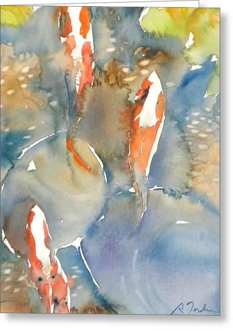 Koi Fish No.9 16x20 Greeting Card by Sumiyo Toribe