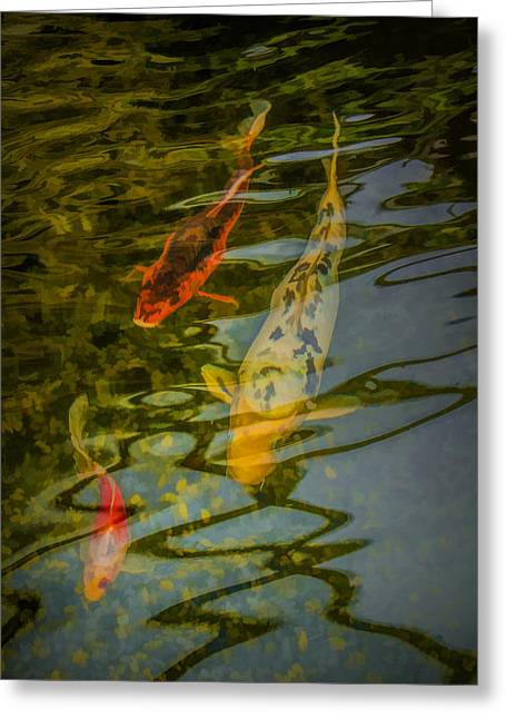 Koi Fish Swimming Underneath The Reflections In A Pond Greeting Card by Randall Nyhof