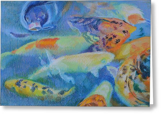Koi Gathering Greeting Card by Aletha Kuschan