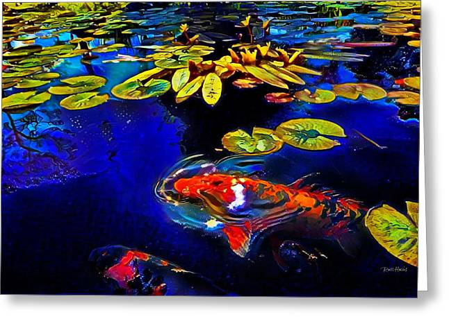 Koi In A Pond Of Water Lilies Greeting Card