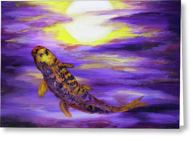 Koi In Purple Twilight Greeting Card by Laura Iverson