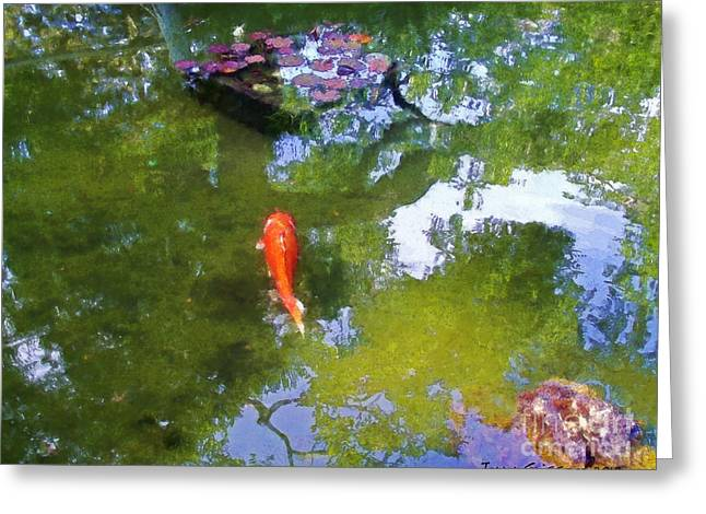 Koi In Reflective Water Garden Greeting Card by Jerry Grissom