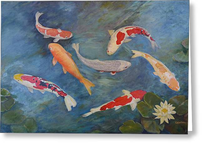 Greeting Card featuring the painting Koi Iv by Sandra Nardone