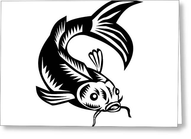 Koi Nishikigoi Carp Fish Woodcut Greeting Card by Aloysius Patrimonio