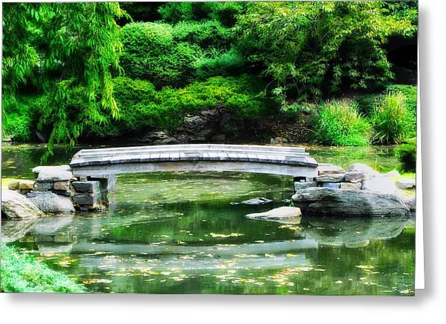 Koi Pond Bridge - Japanese Garden Greeting Card by Bill Cannon
