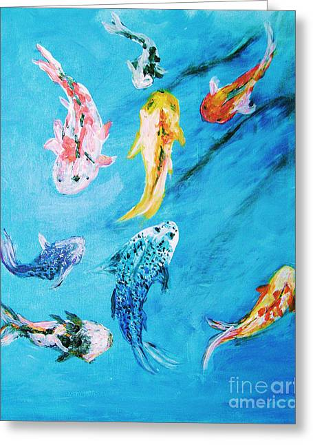 Greeting Card featuring the painting Swimming Koi Fish From The Water Series by Donna Dixon