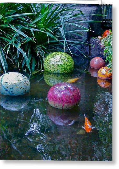 Koi Pond Fantasy Greeting Card by Richard Mansfield