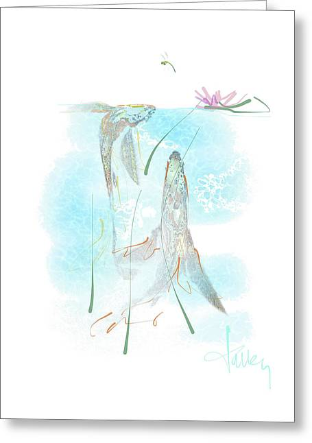 Greeting Card featuring the mixed media Koi Pond  by Larry Talley