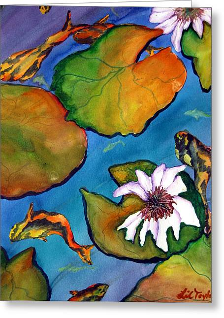 Greeting Card featuring the painting Koi Pond II Sold by Lil Taylor