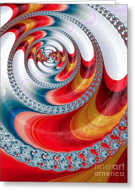 Koi Spiral Greeting Card by John Edwards