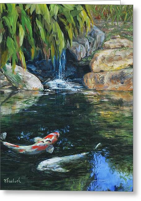 Koi Under The Waterfall Greeting Card by Beth Maddox