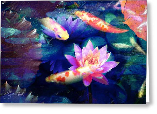 Decorative Fish Greeting Cards - Koi With Water Lilies Greeting Card by Judith Schmidt