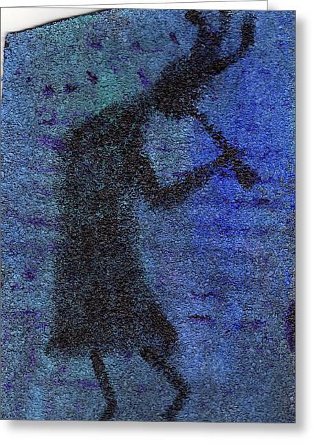 Kokopeli Blues Greeting Card by Wayne Potrafka