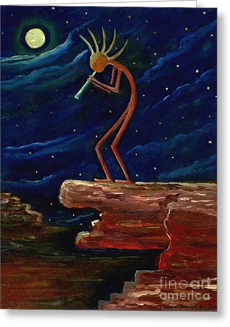 Kokopelli Greeting Card by Anna Folkartanna Maciejewska-Dyba