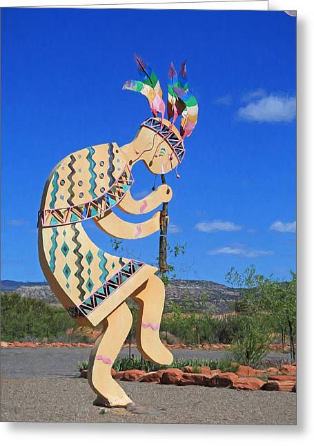 Kokopelli Greeting Card by Donna Kennedy