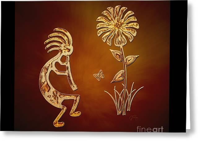 Kokopelli - Flower Serenade Greeting Card