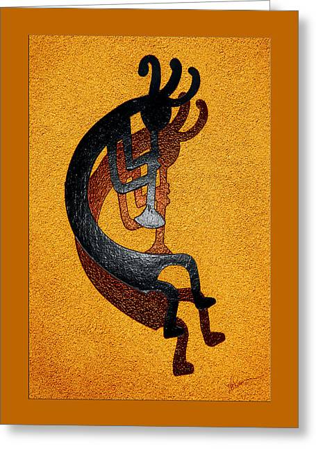 Kokopelli Golden Harvest Greeting Card by Vicki Pelham