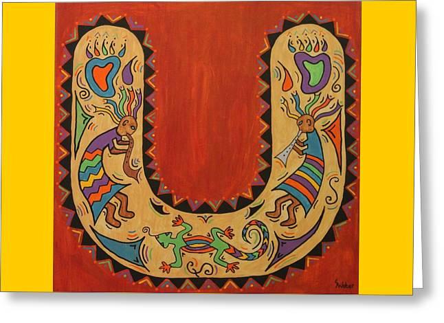 Kokopelli Horseshoe Greeting Card by Susie WEBER