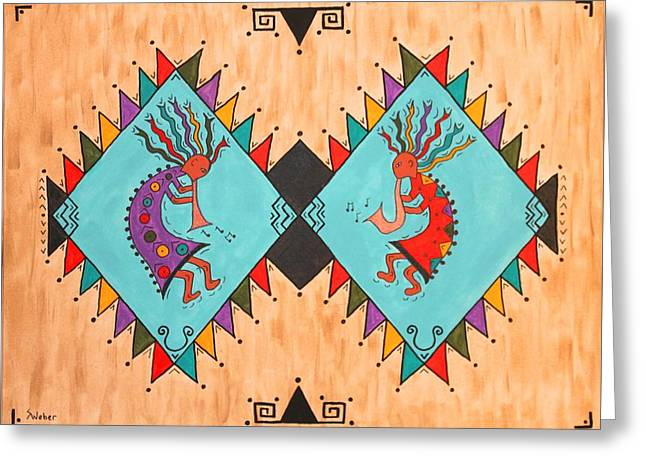 Kokopelli Jammin Greeting Card by Susie WEBER