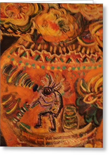 Kokopelli On Ornate Vase Greeting Card by Anne-Elizabeth Whiteway