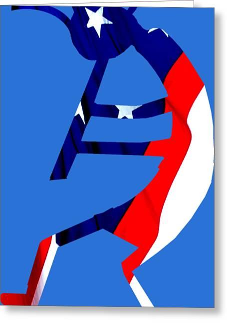 Kokopelli - Patriotic Greeting Card by William Bartholomew