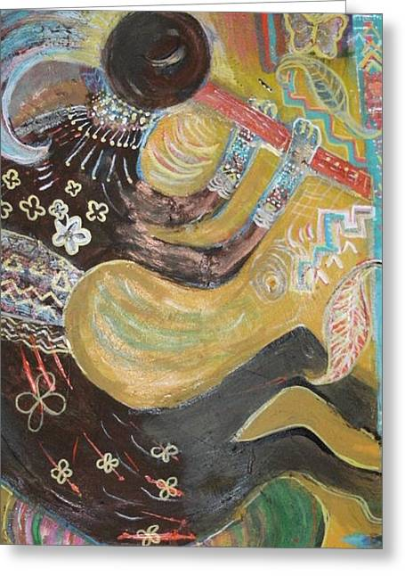 Kokopelli  Playing His Flute Greeting Card by Anne-Elizabeth Whiteway