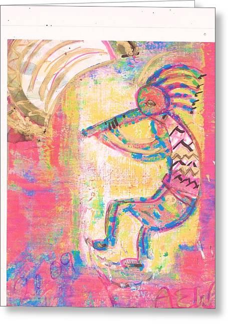 Kokopelli Sleepy Dance Greeting Card by Anne-Elizabeth Whiteway