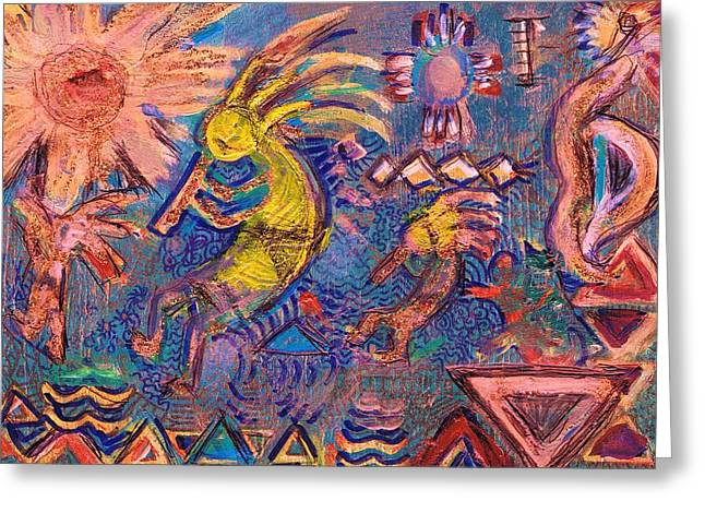 Kokopellis Gone Crazy In The Noonday Sun Greeting Card by Anne-Elizabeth Whiteway