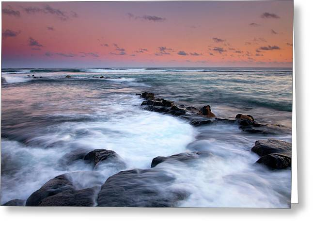 Lava Rock Greeting Cards - Koloa Sunset Greeting Card by Mike  Dawson