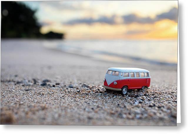 Kombi Beach Greeting Card by Sean Davey