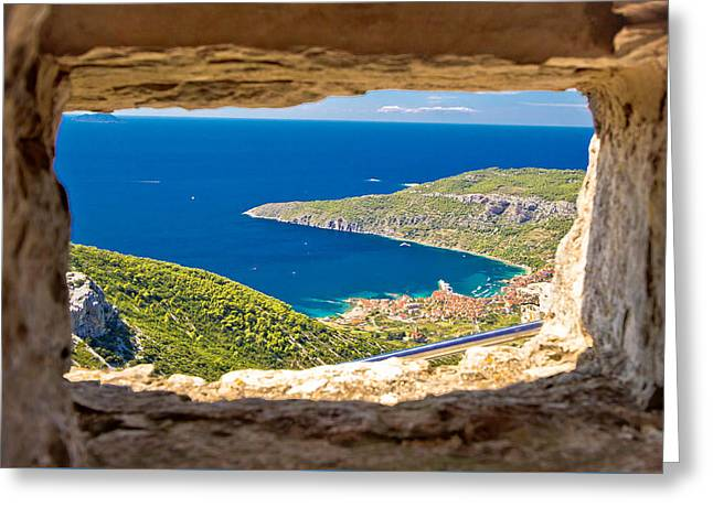 Komiza Bay Aerial View Through Stone Window Greeting Card