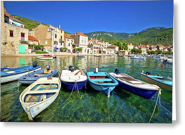 Komiza On Vis Island Turquoise Waterfront Greeting Card