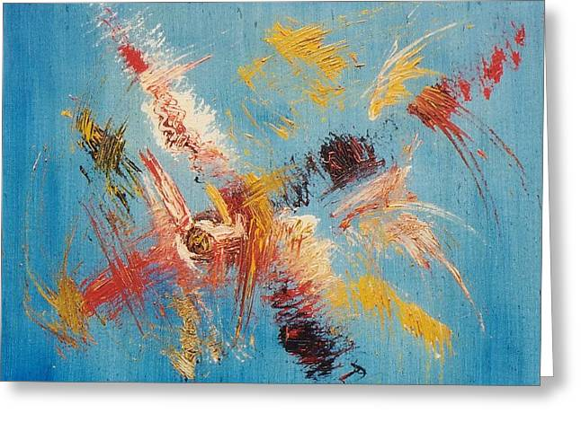 Komposition Auf Blau Greeting Card by Michael Puya
