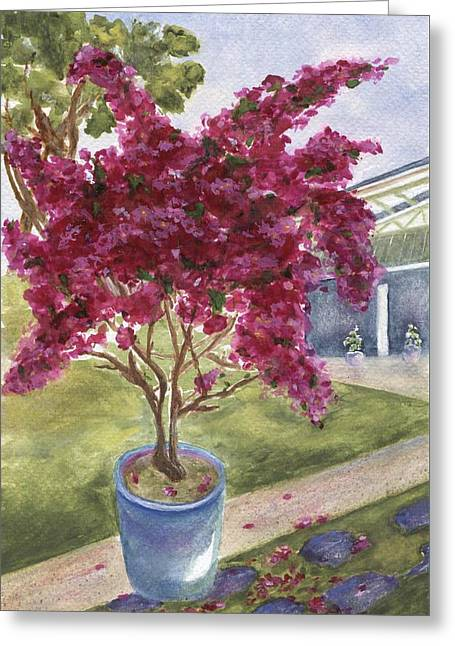 Greeting Card featuring the painting Kona Bougainvillea by Jamie Frier
