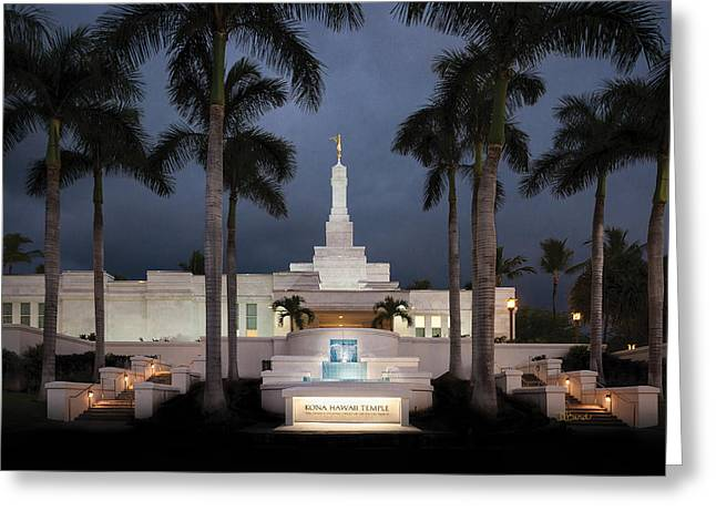 Kona Hawaii Temple-night Greeting Card by Denise Bird