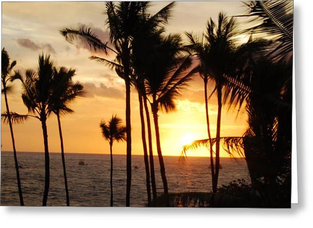 Kona Sunset Greeting Card by Paulette B Wright