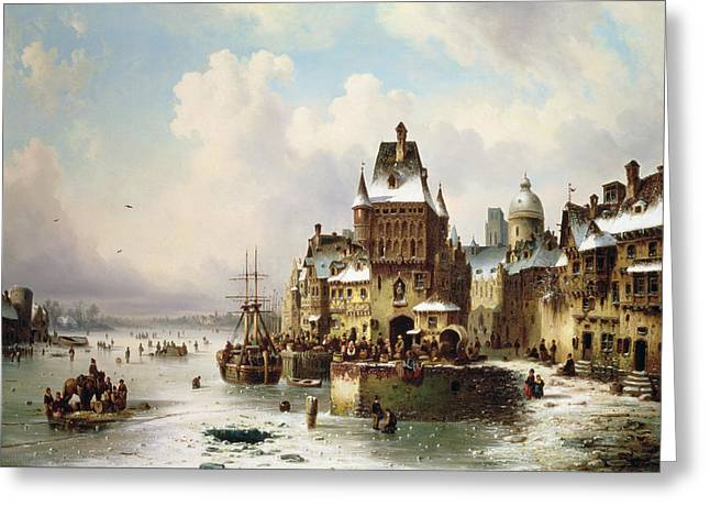 Blizzard Scenes Greeting Cards - Konigsberg Greeting Card by Ludwig Hermann