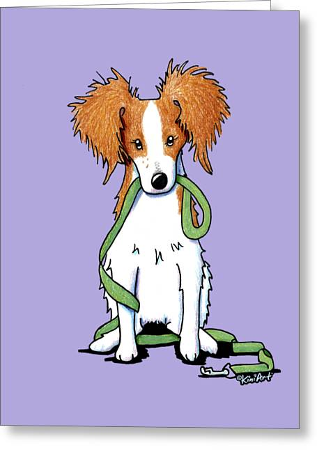 Kooikerhondje With Leash Greeting Card by Kim Niles