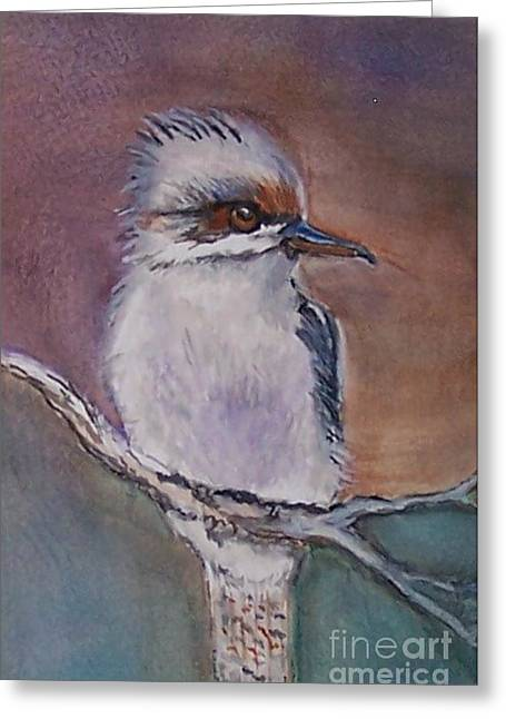 Greeting Card featuring the painting Kookaburra Fancy by Leslie Allen